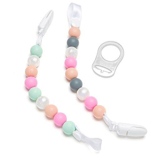 Schnuller-Clips für Das Zahnen, 2er Pack Rosa/Perlen Design für Mädchen, Nuckel-Halter aus Silikon, Spielzeug für Das Zahnen und Schnuller-Band für Babydecken
