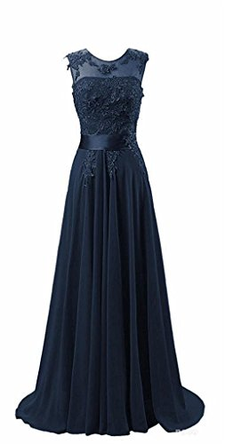 CoutureBridal® Robe Longue de Cocktail Bal Soirée Demoiselle d'honneur Chiffon Bleu Marine