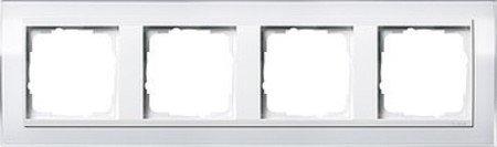 Gira 0214723 Abdeckrahmen 4-Fach Event klar weiß mit reinweißem Zwischenrahmen - Glas 4 Licht Unterputz