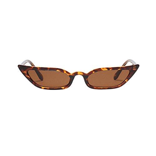 Makefortune Frauen Sonnenbrillen, Frauen-Weinlese-Katzenaugen-Sonnenbrille-Retro- kleiner Rahmen UV400 Eyewear arbeiten Damen-Gläser um (Braun)