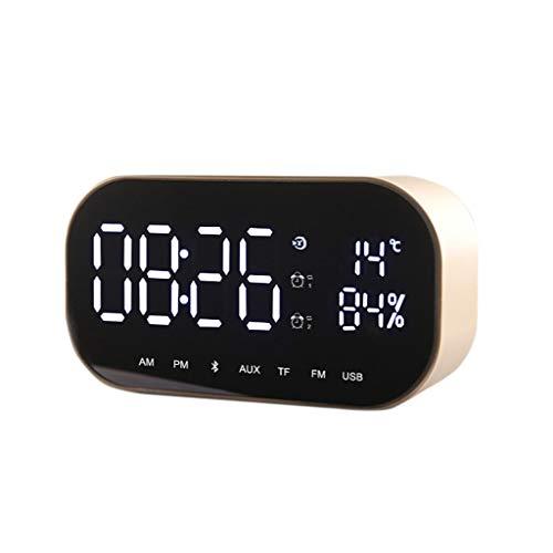 Huacat Bluetooth Lautsprecher Dual-Horn-Spiegel Doppellautsprecher Spiegel Unterstützung FM Uhr kompaktes Smart Display mit
