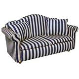 Dolls House Miniature 1:12th Scale Blue Striped Sofa