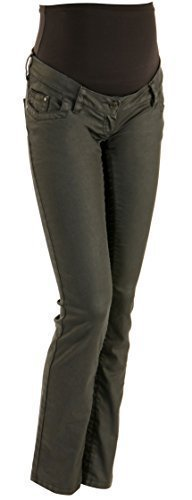 Christoff Jeans Umstandsjeans Damen Straight Leg Zip Leder Optik