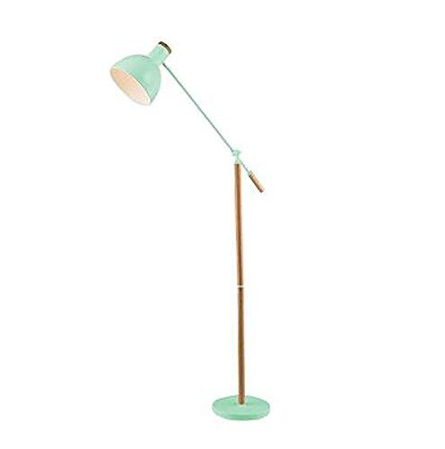 Peaceip Amerikanischen wohnzimmer schlafzimmer moderne studie boden schreibtisch lampe massivholz eisen vertikale stehleuchte (Farbe : Grün)
