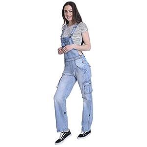 USKEES Damen-Latzhose - Aged Blue Verstellbare Beinlänge Mode Latzhose Denim Ove DAISY1AGED