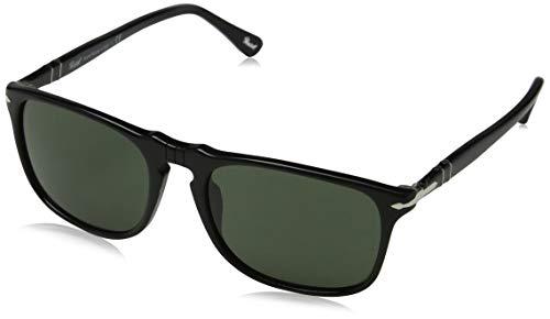 Persol Herren PO3059S Sonnenbrille, Gestell: schwarz, Gläser: grün 95/31), Medium (54)