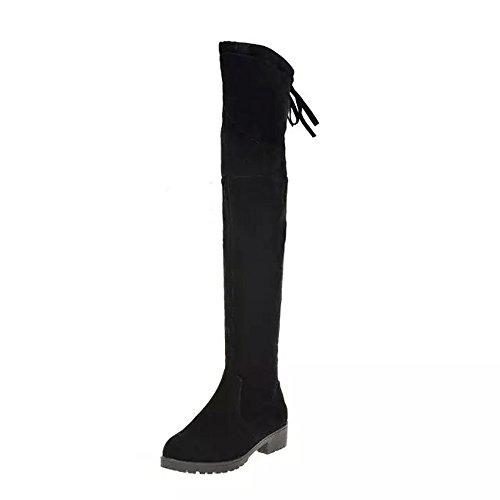 Zapatillas de Mujer Botas Altas con Cordones y Punta Redonda para Mujer Botas sobre Rodilla Tacones...