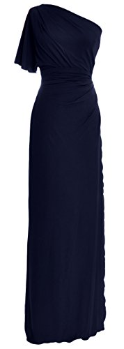 MACloth Elegant One Shoulder Simple Prom Gown Jersey Wedding Party Formal Dress Dark Navy