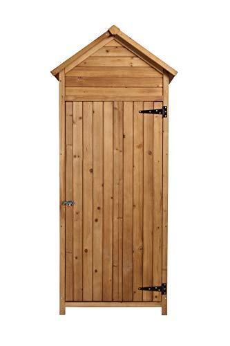 vanvilla Geräteschrank Geräteschuppen Holz Satteldach Braun lasiert Gerätehaus Gartenschrank