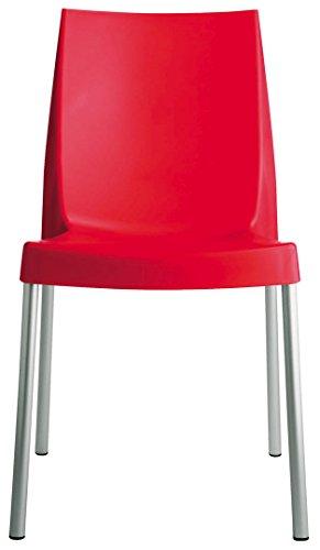 Grandsoleil Upon Boulevard Standard Chaise empilable avec Pieds en Aluminium, Polypropylène, Rouge, 52 x 44 x 85 cm