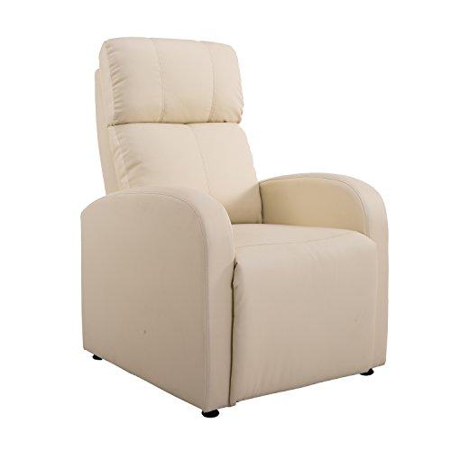 Homcom® Relaxsessel Ruhesessel Fernsehsessel Sessel mit Liegefunktion Kunstleder (Creme)
