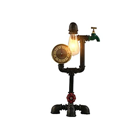Tony's home Loft Style Lamp Steampunk Industrial Vintage Style Water Pipe Table Desk Light for Living Room Aged Rustic Metal (Black) Light LED E27 Desk Lamp