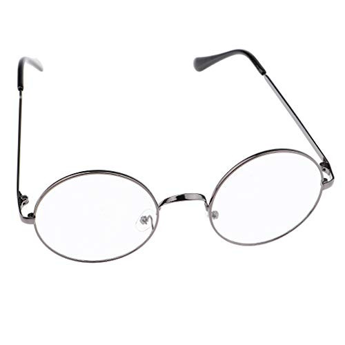 IPOTCH Metall Frame Runde Brille Retro Metall Klare Linse Brille - Grau