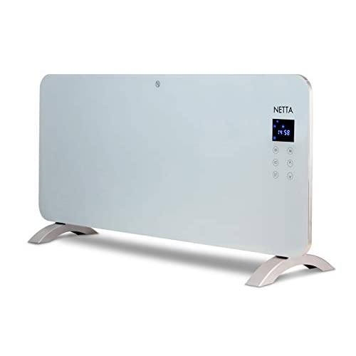 314XlQ5wxBL. SS500  - NETTA Electric 2000W Slimline Glass Panel Heater Radiator With Thermostat And 24 Hour Timer, Wall Mounted or Floor Standing