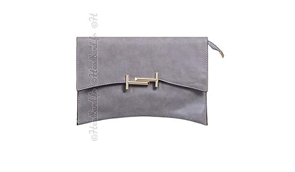dbd16f58f4 Hedea Pochette soirée simili fermoir T métal gris: Amazon.fr: Chaussures et  Sacs