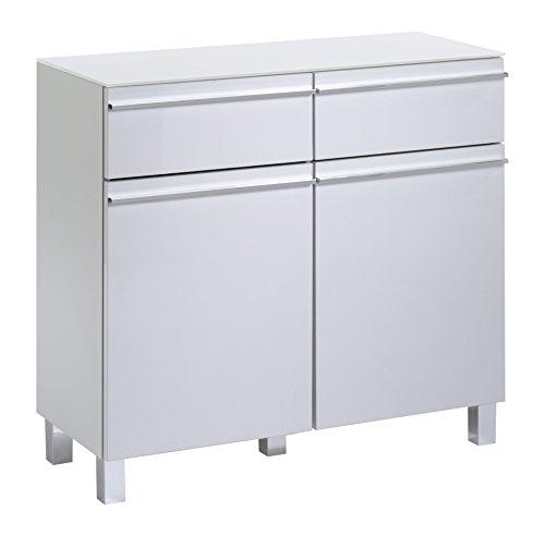 2 Tür, 2 Schublade Sideboard (SLEEK 10 VS Sideboard Melamin weiß HGL weiß/Glas weiß (15))