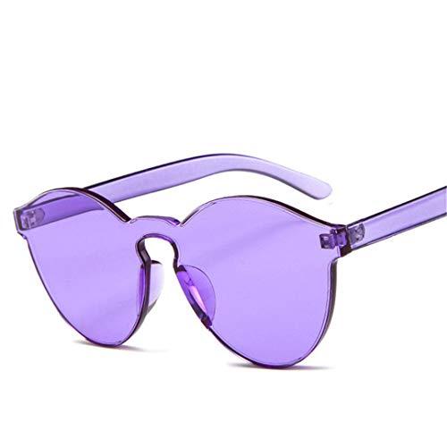 DAIYSNAFDN Bonbonfarben Cateye Sonnenbrille Frauen Runde Designer Brille Herren Sonnenbrille Purple