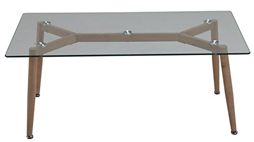 MOBIDECORA Table geilo-110, Basse, Metal, Cristal, 110 x 60 cm