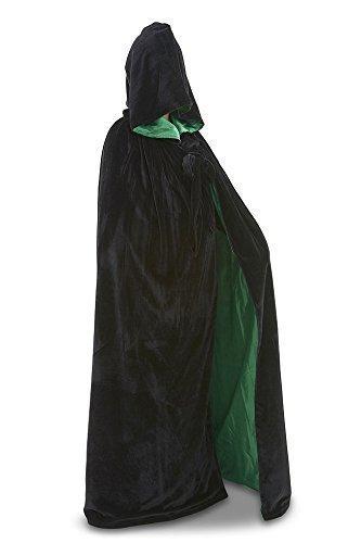 Samtumhang mit Kapuze - verschiedene farben (schwarzer Samt/ grüne - Hexe Mystic Kostüm