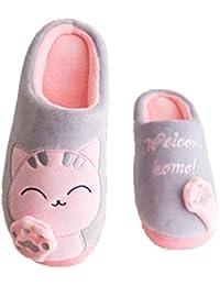 Monbedos Pantofole Calde da Donna Pantofole Invernali Autunno Inverno  Pantofole Stile Gatto Caldo f975338124a