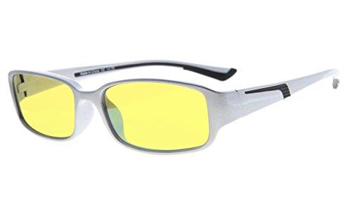 Eyekepper Computer-Lesebrille mit mehr als 94% Anti Blaulicht in Gelbe getönte Gläser (Klar/schwarz Arm +0.00)