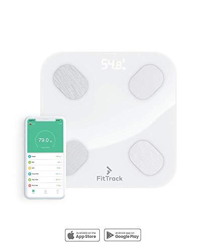 FitTrack Dara Intelligente BMI-Digitalwaage - misst Gewicht und Körperfett - hochpräzise Bluetooth Badezimmer-Waage mit Glasoberfläche