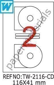 TANEX TW-2116 DVD/CD/Blu-ray Multimedia Etiketten weiß 116 x 41 mm A4 10 Bl.