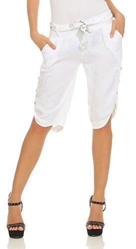 Mississhop 281 Damen Capri 100{d478938c3f5c9879d6b55dda62a65774e1bcce2c5dc982fc200547b6dfa0aaf2} Leinen Bermuda lockere Kurze Hose Freizeithose Shorts mit Gürtel und Knöpfen Weiß M