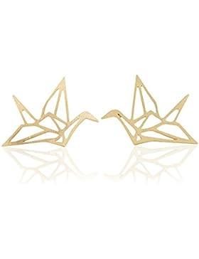 Ohrstecker Origami Kranich 18karat vergoldet Ohrring Schmuck
