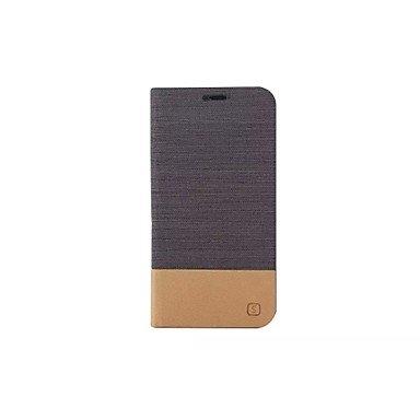 HLY-CASE Gute Leistung Flip Canvas Ledertasche mit Brieftasche Card Slot Inhaber für Samsung Galaxy, Einfach zu bedienen (Farbe : Schwarz, Kompatible Modellen : Galaxy S6 Edge Plus)