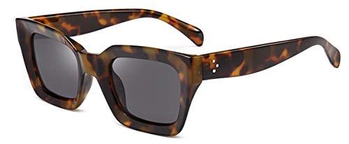 HUWAIYUNDONG Sonnenbrillen,Square Small Retro Sunglasses Women Cat Eye Design Sun Glasses Ladies Rivet Clear Shades Eyeglasses Amber