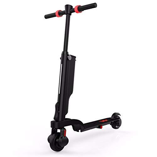 Embid Faltbarer elektrischer Roller, Erwachsener Leichter elektrischer Fahrrad-intelligenter Roller mit Bluetooth-Skateboard-Rädern mit LED-Licht 250W Black
