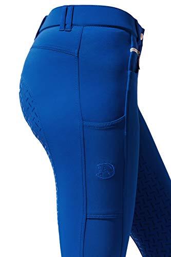 RidersDeal Collection Reithose mit Silikonvollbesatz und Handytasche für Damen, blau