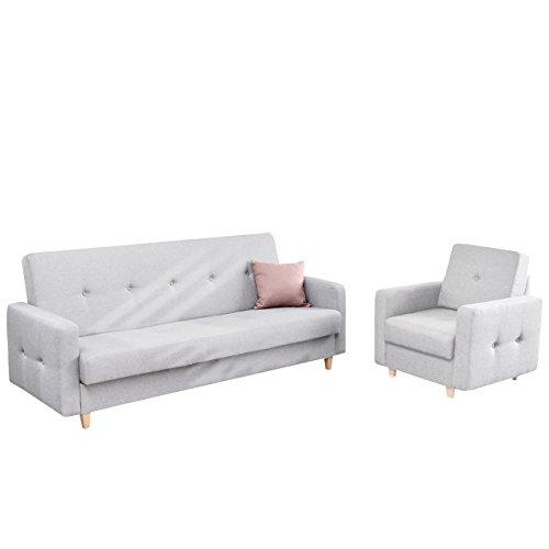 Polstergarnitur Tango Sofa mit Bettkasten und Schlaffunktion, Einzelsessel, Sessel, Modernes Bettsofa Couch, feiner Webstoff, Polstermöbel (Drago 139)