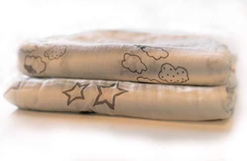 Baby Kuscheldecke, 4-lagig, Musselin Pucktuch 115x115cm, Babydecke, Einschlagdecke, Krabbeldecke, Kinderwagendecke, Kinderdecke Junge & Mädchen Grau Sternen & Wolken