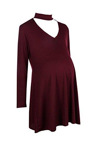 Femmes Du vin Maternity Molly Choker Swing Dress Du vin