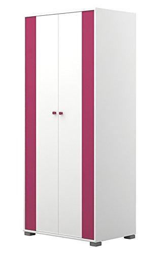 Kinderzimmer - Drehtürenschrank/Kleiderschrank Lena 10, Farbe: Weiß/Pink - Abmessungen: 198 x 84 x 56 cm (H x B x T)