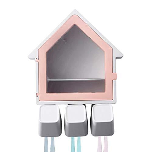 Zahnbürstenhalter Kreative kleine Haus elektrische zahnbürste Rack Multifunktionale Familie waschbecher Set Bad kreative becherhalter (Color : Pink)