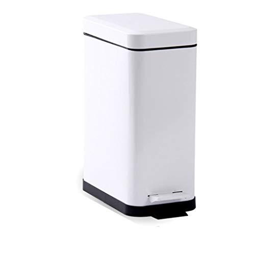 Zlw-shop Secchi per la spazzatura Trash Can da Cucina Rettangolare a Forma di Famiglia a Pedali da Cucina 5L 10L Bianco (Dimensione : 10L)