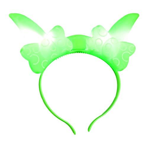 cinnamou Haarband mit blinkenden LEDs Light Up LED blitzt blinkt Haar-Bogen-Haar-Band-Stirnband-Kostümparty Karneval Fantasie-Partei-Kugel Leucht KopfstüCk füR Hochzeit Party (Free, Grün) - Kugel-hochzeit Band