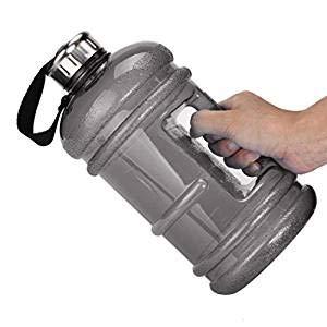 icase4u Borraccia sportiva, senza BPA, durevole ed extra resistente, da 2,2 litri, con tappo in acciaio INOX, per sport, palestra, allenamento, Grey