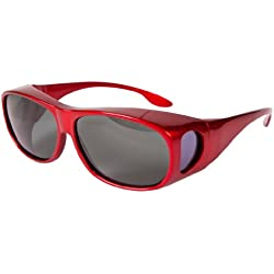Overglasses Fit Over Sunglasses Wear Over Your Prescription Glasses Polarised UV400 wrap Around Sports Metallic Red Grey Lens Category 3 Bright Sun