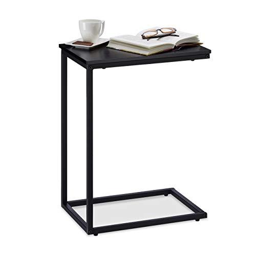 Relaxdays schwarz, Beistelltisch, Metallgestell, robust, Melaminplatte, Dekotisch, u-förmiger Couchtisch 60cm hoch, Black, Standard