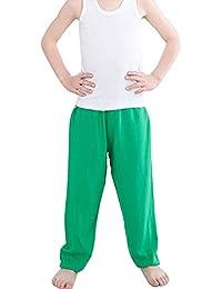 Mengyu Pijama Largo antimosquitos de Color Puro, Pantalones Casuales para niños de Verano Verde 80