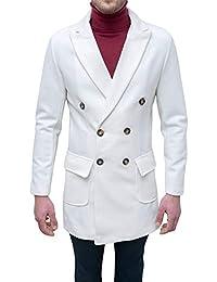 Evoga Cappotto Sartoriale Uomo Bianco Elegante Invernale Giaccone Soprabito  Doppiopetto e44ff398574