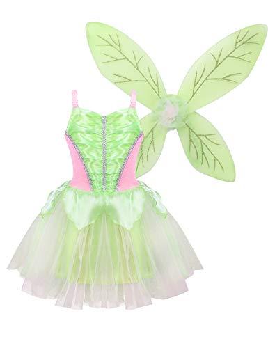 FEESHOW Kinder Mädchen grün Waldfee Kostüm Set Fairy Pixie Cosplay Outfit Prinzessin Tüllkleid und Flügel Elfenkostüm für Karneval Fasching Geburtstag Tee grün 116-128/6-8Jahre