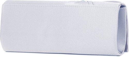 VINCENT PEREZ, Clutch, Abendtaschen, Umhängetaschen, Unterarmtaschen aus Satin mit Schleifen-Raffung und hochwertiger Strassring-Dekoration, mit abnehmbarer Kette (120 cm), 24,5x9,5x5 cm (B x H x T) Silber