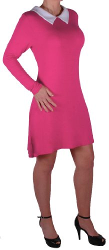 Eyecatch - Robe courte col claudine manches longues - Verena - Femme - Grandes Tailles Fuchsia