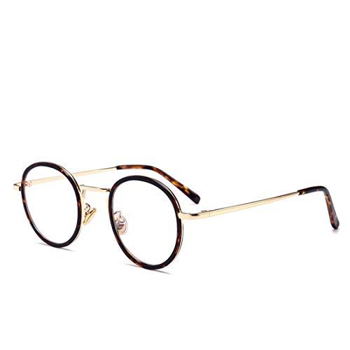 Nalkusxi Literarische Retro-Runde Männer und Frauen mit der gleichen Mode-Brille Nicht verschreibungspflichtige Brille für Frauen Männer (Color : Leopard)