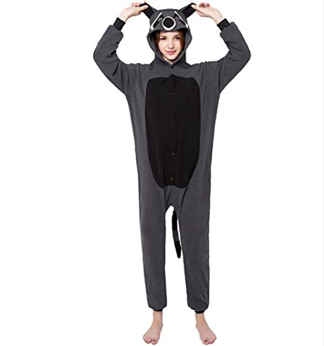 (SHANGXIAN Erwachsene Tier Pyjamas Grauer Waschbär Polar Fleece Cosplay Kostüme Unisex Urlaub Geschenk,L)